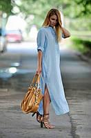 Голубое льнянное длинное платье свободного кроя (S/M, M/L, L/XL, XXL/XXXL)