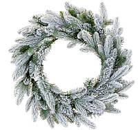 Венок из искусственной хвои заснеженный, 60см, 132 ветки, рождественский венок