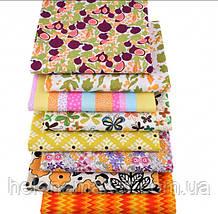 Цветочный набор ткани для рукоделия в оранжевом цвете - 8 отрезов 25*25 см
