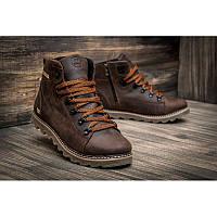 Мужские зимние кожаные ботинки CAT Caterpillar коричневые