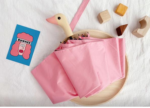Зонт с деревянной ручкой голова утки (Розовый) top-832, фото 2