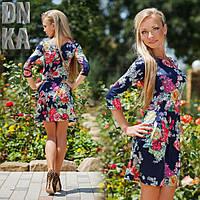 Синее платье в цветок