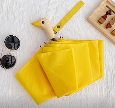 Зонт с деревянной ручкой голова утки (желтый) top-831, фото 2