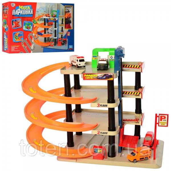 Гараж детский 4 яруса с машинками,  0849 лифт, транспорт 4 шт, 8 см
