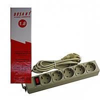 Подовжувач електричний Переноска на 5 гнізд 1,8 м з латунними контактами і виключателем (13046)