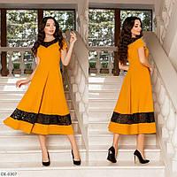 Расклешенное практичное платье со вставками вышивки на сетки арт 186