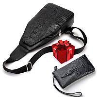 Новая мужская сумка слинг Alligator Black + В ПОДАРОК Кошелек портмоне Alligator Black!!!