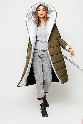 Женское зимнее стеганое пальто-одеяло цвета хаки