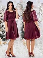 Женское платье под пояссо вставкамисетки с пайеткойи отделкой кружева декором жемчуга48-50, 52-54