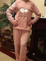 Женская Пижама флисово-махровая с длинным рукавом 42-48,доставка по Украине