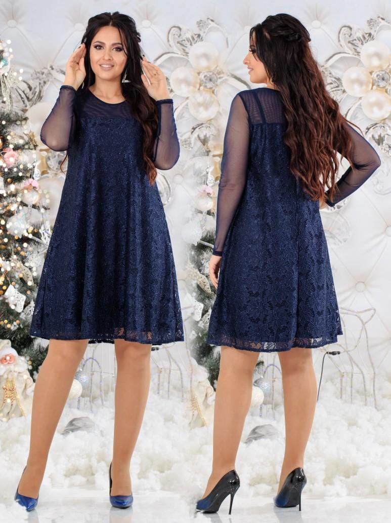 Женское гипюровое платье свободного кроя со вставками сетки  48, 50, 52, 54
