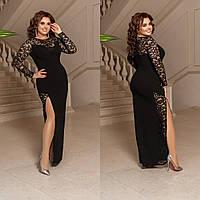 Длинное черное вечернее платье с разрезом большого размера, размеры 48-50, 52-54, 56-58.