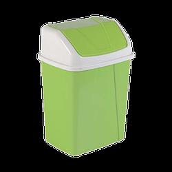 Ведро для мусора с поворотной крышкой 8,25 л зеленое