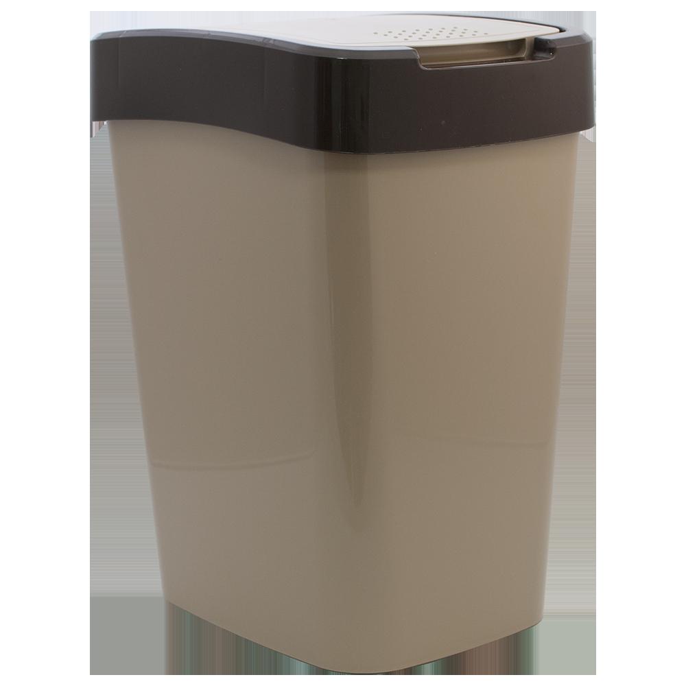 Ведро для мусора Евро 25 л кремовый - темно-коричневый
