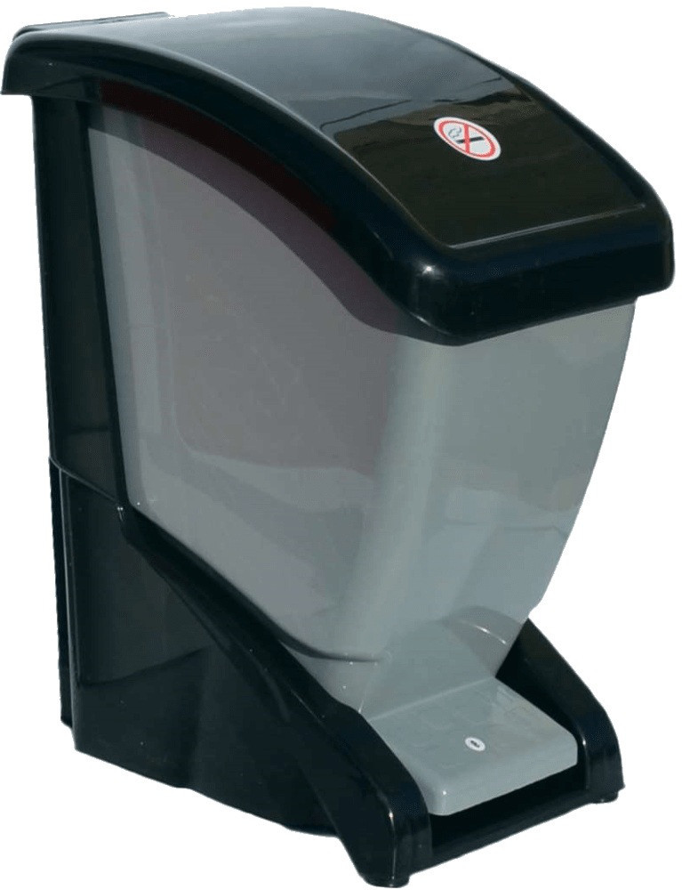 Ведро для мусора с педалью 12 л черно-серый