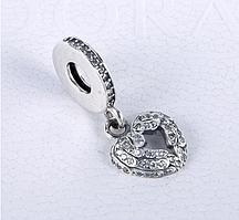 Серебряный шарм подвеска для браслета Пандора Сердце