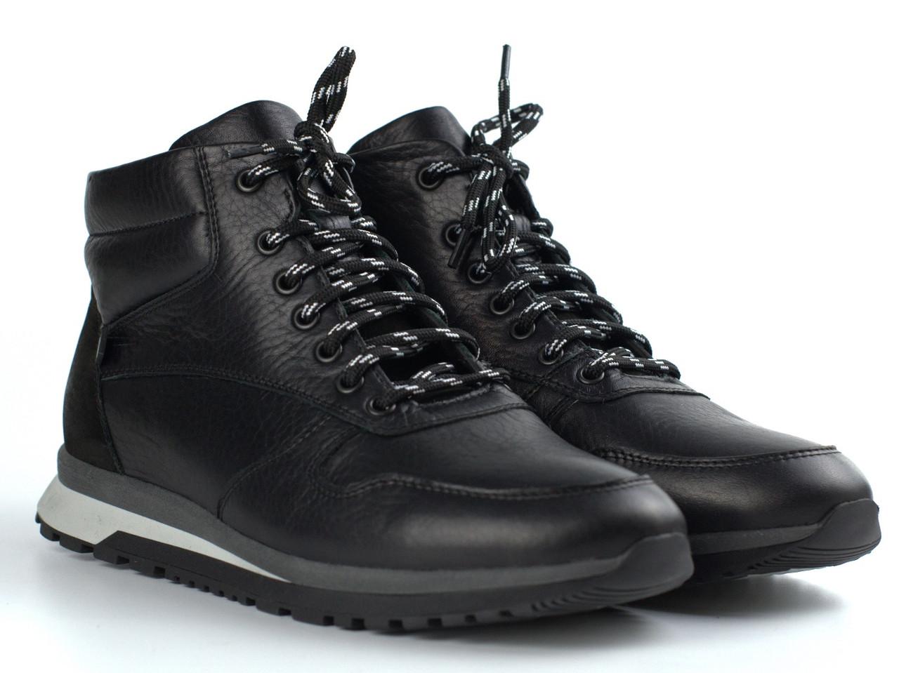 Кожаные зимние ботинки кроссовки на меху черные мужская обувь Rosso Avangard ReBaKa Black Leather
