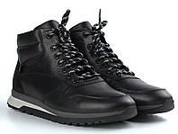 Кожаные зимние ботинки кроссовки на меху черные мужская обувь Rosso Avangard ReBaKa Black Leather, фото 1