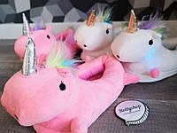 Детские домашние тапочки единороги розовые размер 26 - 33