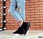 Зимние черные женские ботинки натуральная замша, фото 4