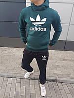 Спортивный костюм Adidas мужской, зимний, черно-зеленый, трехнитка на флисе, в стиле Адидас, код NN-2021.