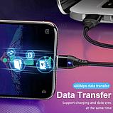 GETIHU Магнитный кабель MICRO USB 2 метра быстрая зарядка 3А Android Samsung Xiaomi Цвет чёрный, фото 6