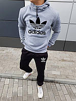 Спортивный костюм Adidas мужской, зимний, черный с серым, трехнитка на флисе, в стиле Адидас, код NN-2023.