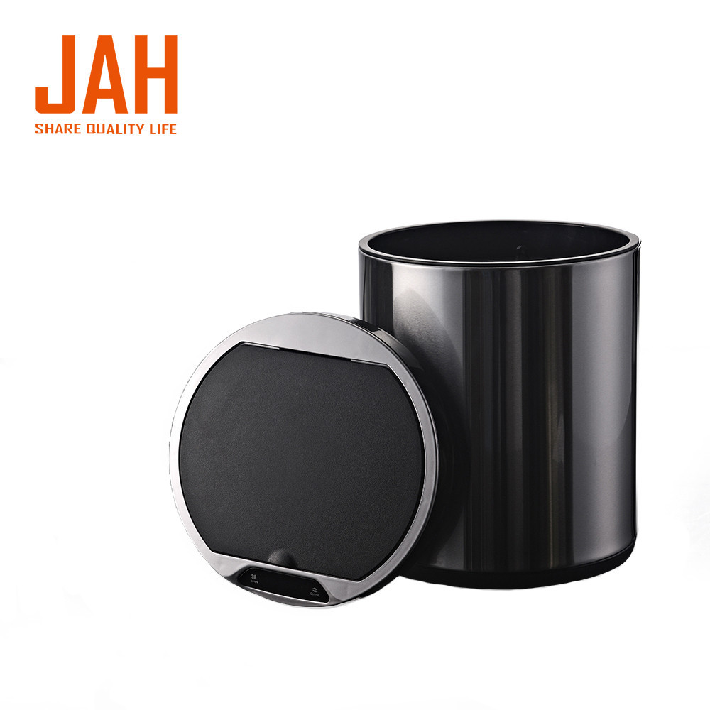 Сенсорное мусорное ведро JAH 20 л круглое черный металлик без внутреннего ведра
