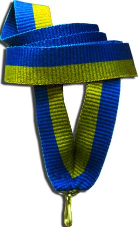 """Лента для медали """"жёлто-синяя"""" 15 мм"""