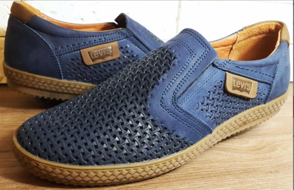 Кожаные мужские туфли Levis (model - 29) синие (перфорация)