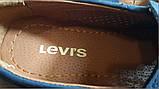 Кожаные мужские туфли Levis (model - 29) синие (перфорация), фото 2