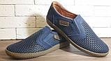 Кожаные мужские туфли Levis (model - 29) синие (перфорация), фото 4