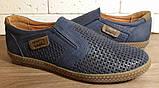 Кожаные мужские туфли Levis (model - 29) синие (перфорация), фото 6