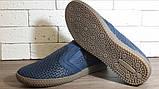 Кожаные мужские туфли Levis (model - 29) синие (перфорация), фото 7