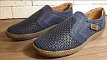 Кожаные мужские туфли Levis (model - 29) синие (перфорация), фото 8