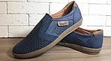 Кожаные мужские туфли Levis (model - 29) синие (перфорация), фото 9