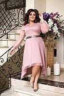 Нарядное вечернее платье большого размера, размеры 50-52, 54-56, 58, нежно розовое.