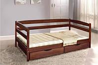 Кровать деревянная односпальная Ева 90*200 см с ящиками без матраса