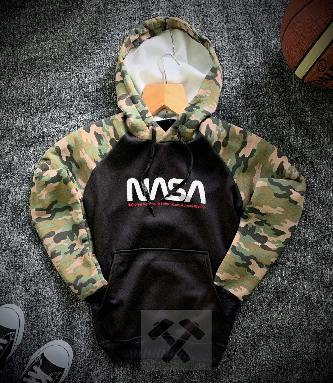 Кофта худи NASA камуфляжно-черная на флисе