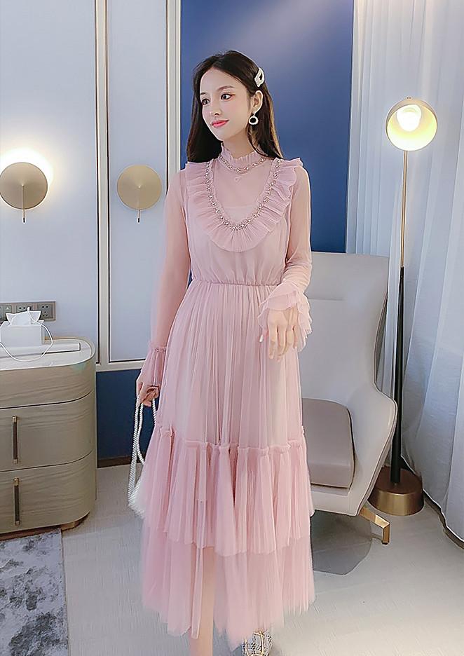 Расклешенное платье с рюшами 42-46 (в расцветках)