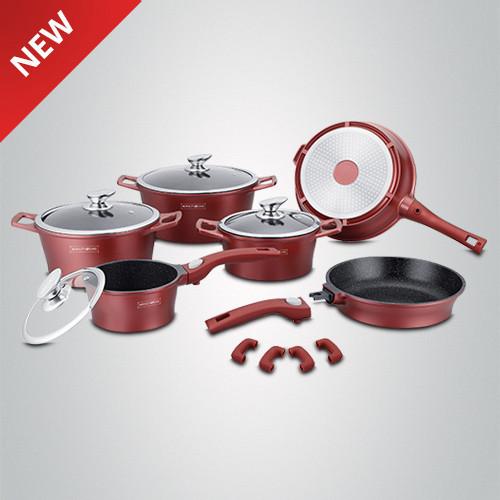 Набір кухонного посуду з мармуровим покриттям Royalty Line RL-ES2014M Burgundy 14pcs