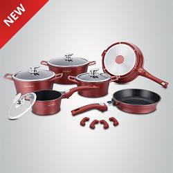 Набор кухонной посуды с мраморным покрытием Royalty Line RL-ES2014M Burgundy 14pcs