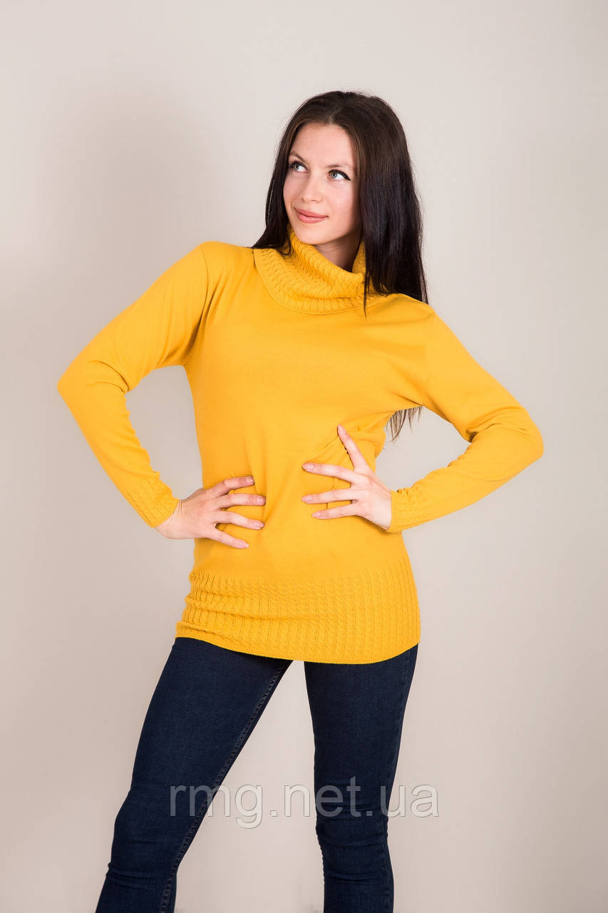 Удлиненный женский свитер с горлом Турция