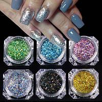Набор для декорирования ногтей Блестки набор 6шт