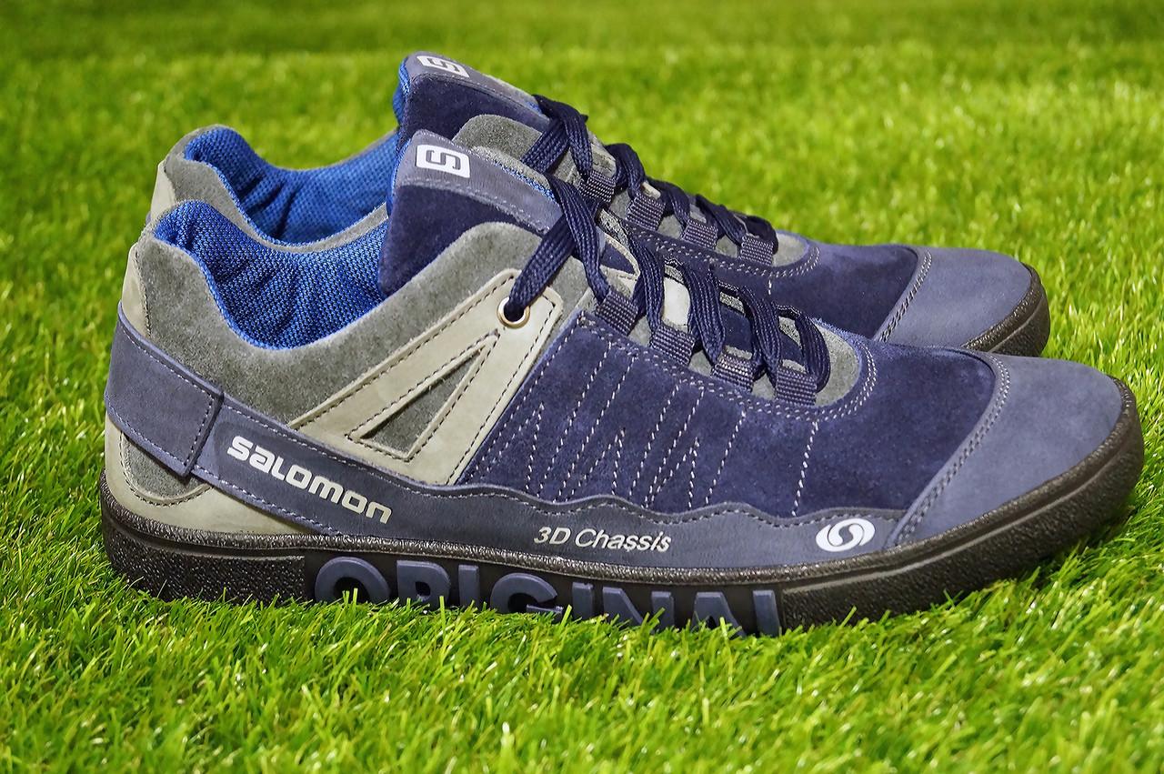 Мужские кроссовки Salomon синие  натуральная кожа замша