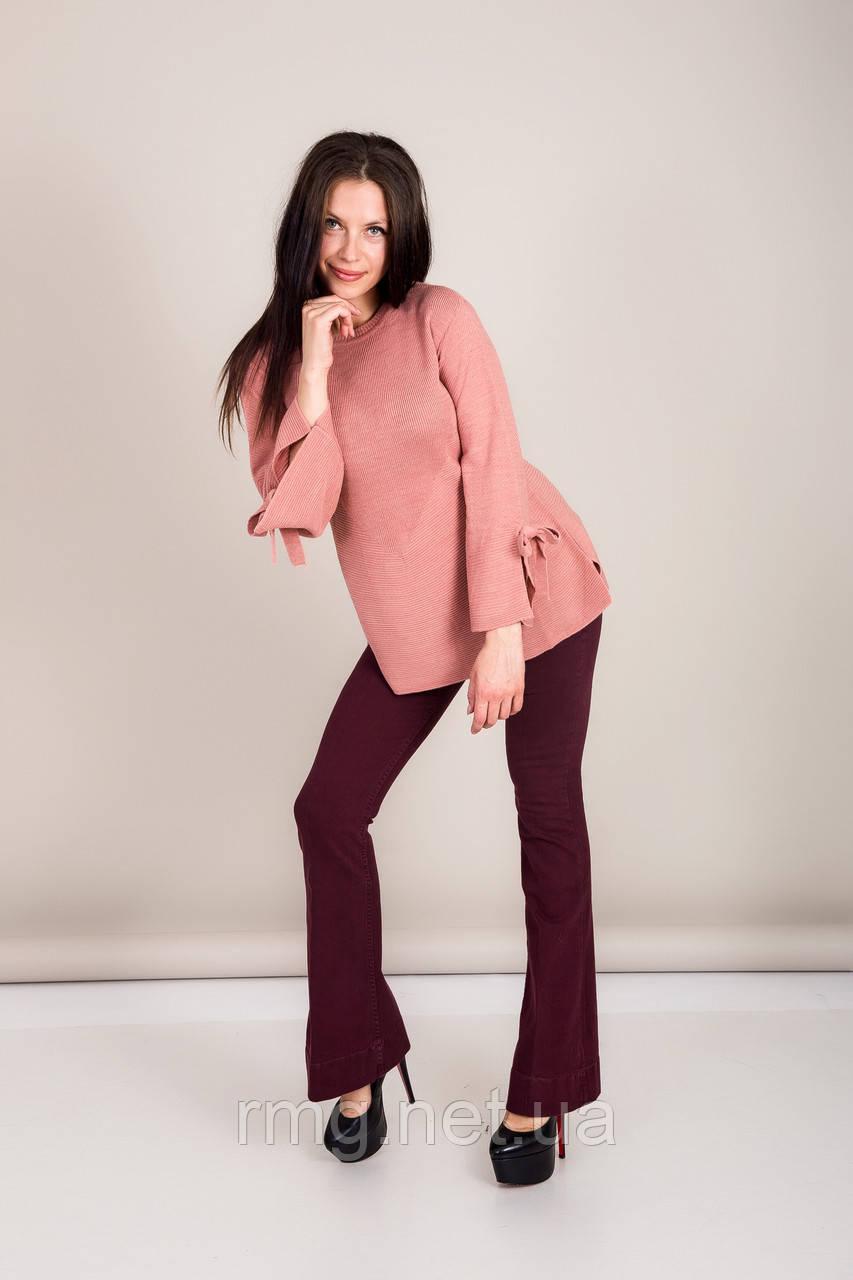 Элегантный удлиненный женский свитер с бантами на рукавах Турция