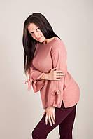 Елегантний подовжений жіночий светр з бантами на рукавах Туреччина, фото 4