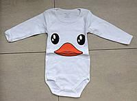 Детский боди для новорожденных с длинным рукавом утка белый