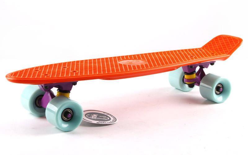 Скейтборд Penny Original FISH 22in однотонная дека (оранжевый-фиолет-мятный). Скейт пенни