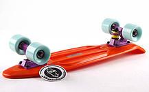 Скейтборд Penny Original FISH 22in однотонная дека (оранжевый-фиолет-мятный). Скейт пенни, фото 2